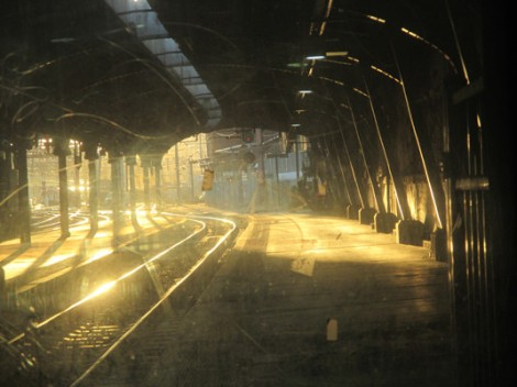 Image result for train at night in the station in painting""