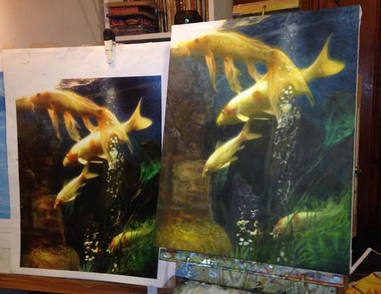 aquarium fish group painting