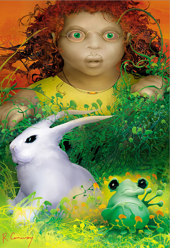 rabbit-green-frog-girl-art