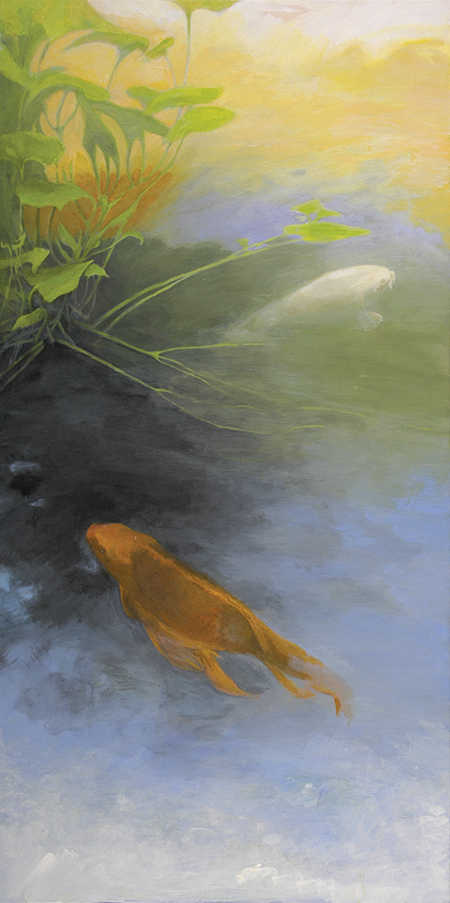 two koi fish swimming painting