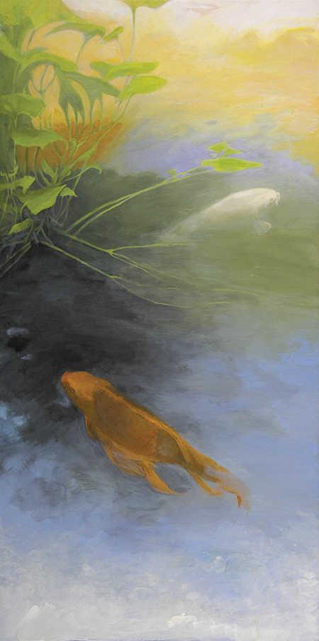 two koi fish swimming painting