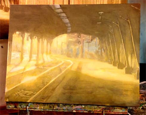 artwork of train terminal